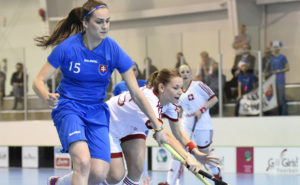 2016 Under-19 Slovakia vs Switzerland Women's World Floorball Championships on Wednesday May 4, 2016 in Belleville, Ontario, Canada. Photo by Aaron Bell/ActiveImages.ca